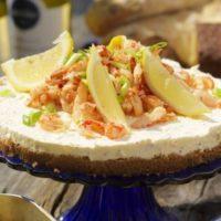 Cheesecake med skaldjurstopp