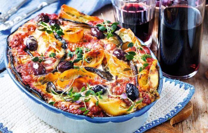 pastagratäng med aubergine