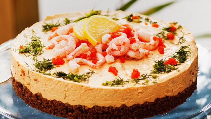 Lyxig skaldjurscheesecake