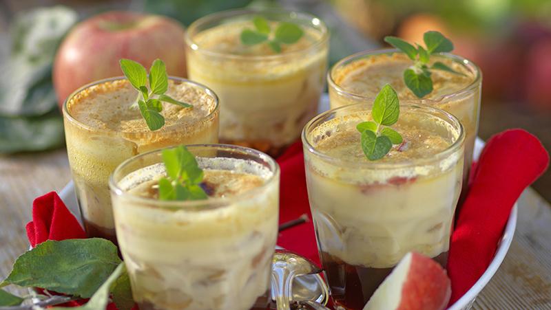 Äppeldessert med crème brûlée
