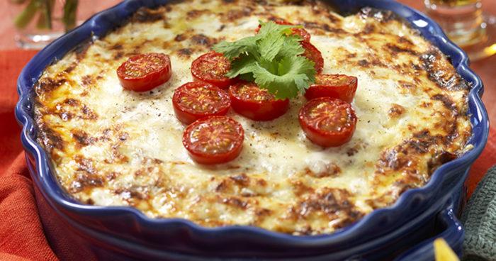 Tacogratäng med bakade tomater