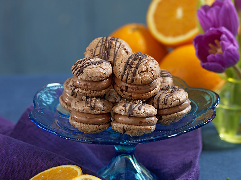 mandelkakor med chokladkräm
