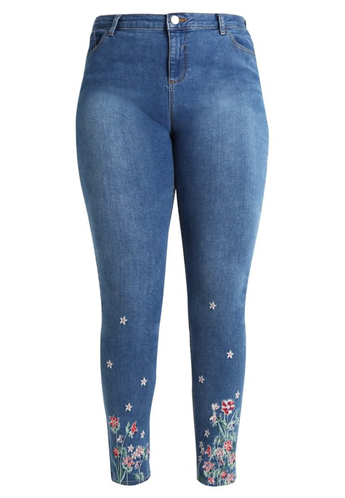 blommiga jeans plus size