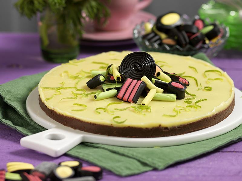 Vit chokladkaka med lakrits