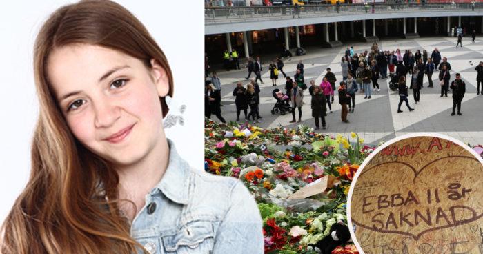 Ebba Åkerlund blev bara 11 år. Hon var en av de som dog i terrorattentatet på Drottninggatan i Stockholm. Bild: Ebbas änglar