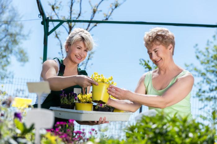 två kvinnor tittar på krukor med blommor