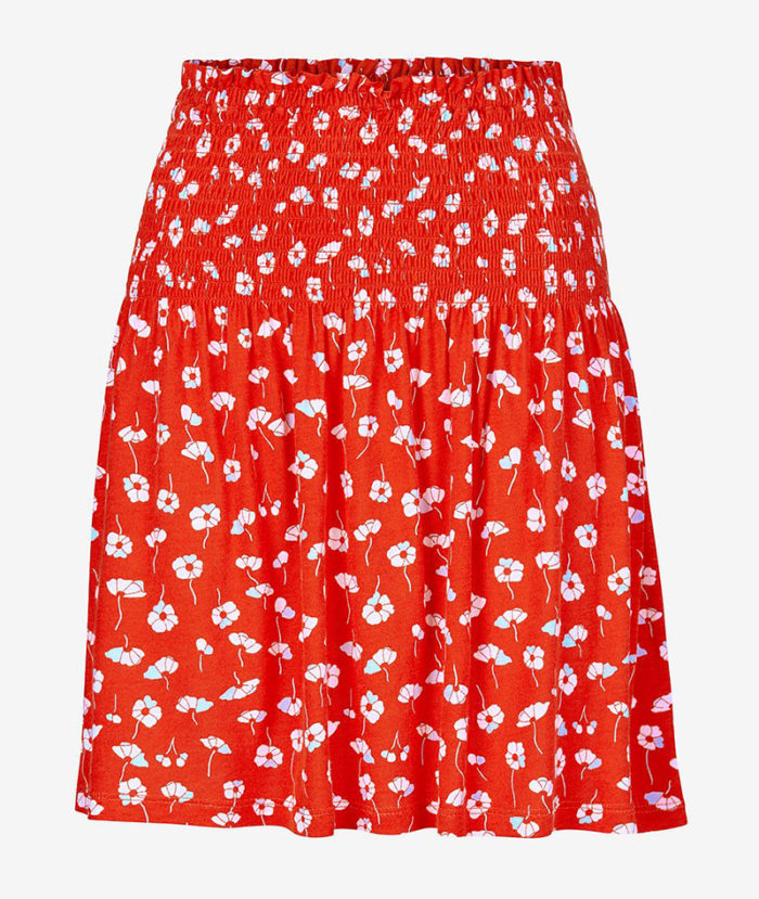 Röd småblommig kjol från Ellos