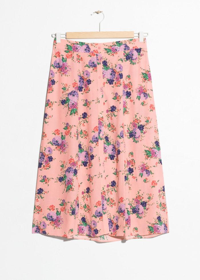 Blommig kjol med knappar från & Other Stories