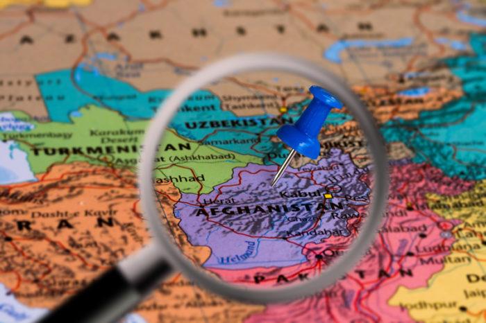 Karta över Afghanistan om dess grannländer.