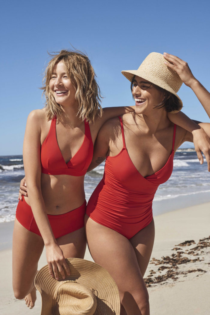 Röd baddräkt och bikini från Lindex