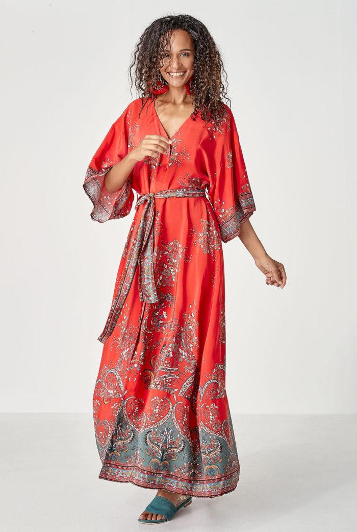 Rödmönstrad klänning/tunika från Indiska