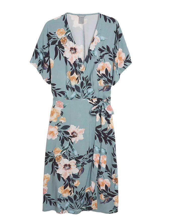 Omlottklänning med blommor