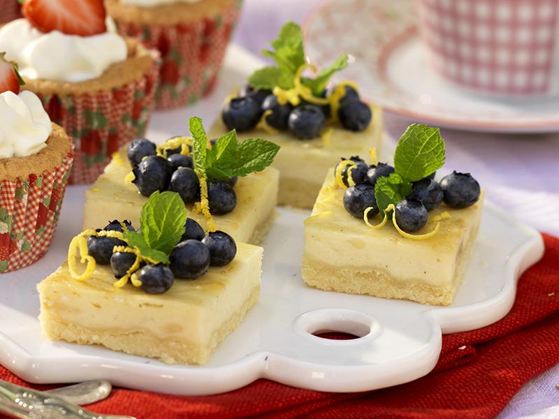 Cheesecakerutor med blåbär