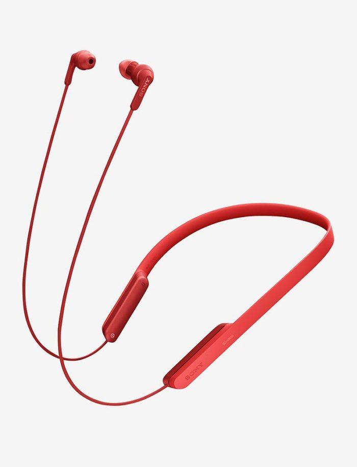 Rött sportheadset med bluetooth från Sony