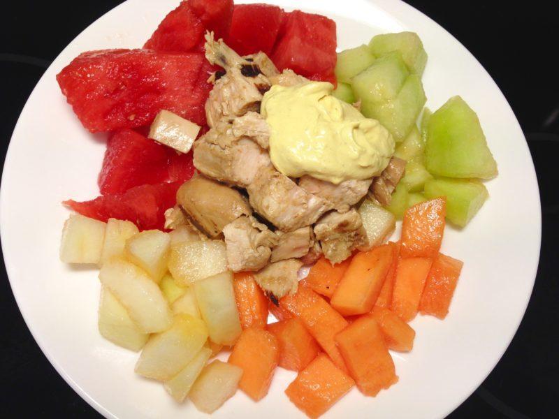 Kyckling med melon och currysås