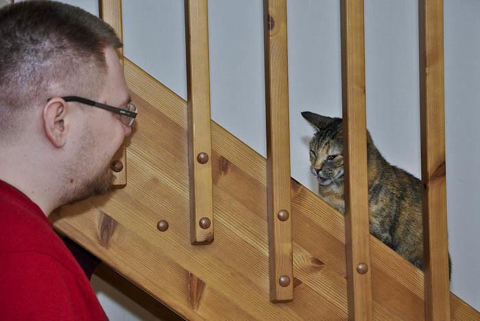 Lucy har äntligen kommit hem. Hem visade sig vara hos min Per i Mantorp. Att stå och språka i trappan, var tydligen kul.