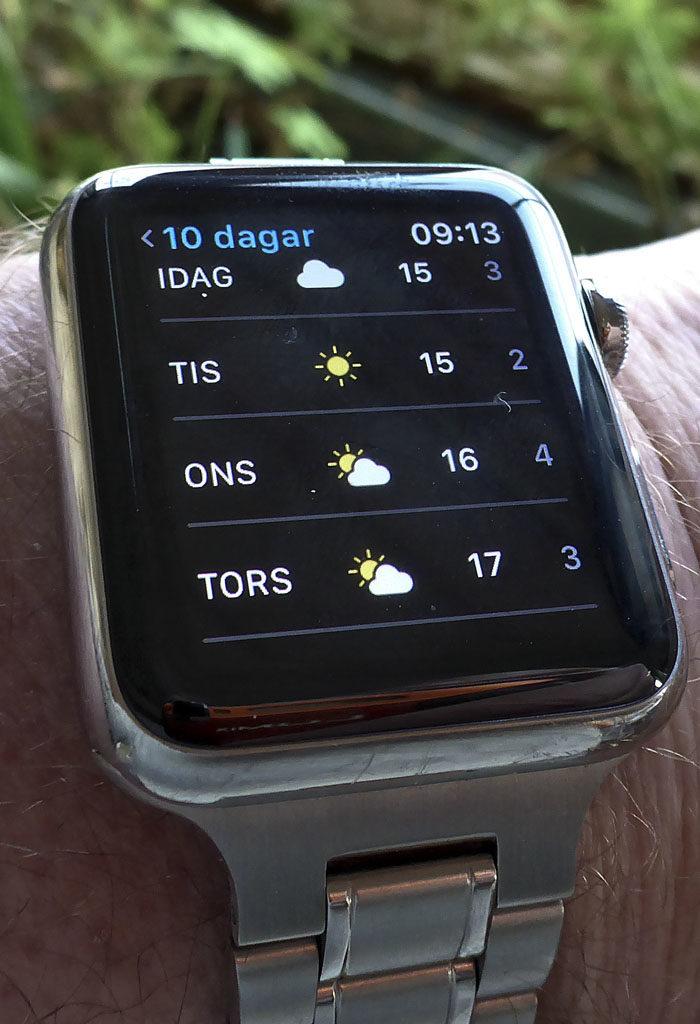 Detta är vädret i min nya stad Aurignac enligt min husses alldeles för dyra klocka. Jag måste hålla med om att det ser lovande ut. Fast idag är det molnigt och det är ju en liten molntuss som skymmer solen både onsdag och torsdag. Fast temperaturen verkar lovande. Klockan visar dock inte var solen går upp.