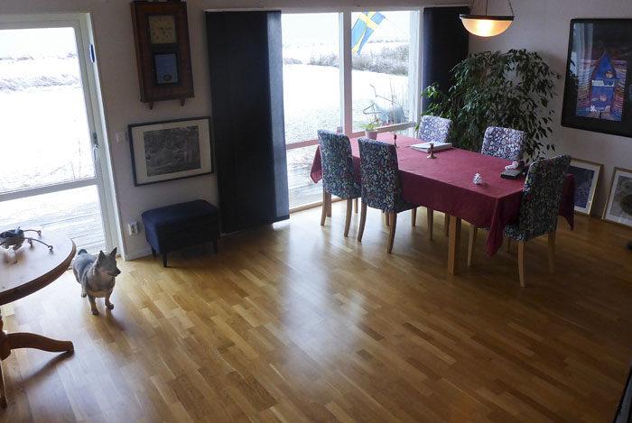 Nog ser det fint ut? Vi hade torkat av golvet en halvtimme innan, för det är inte så snyggt med skoavtryck om man ska visa ett hus.