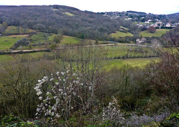 Tittar man åt ena hållet från slottet i Aurignac, så kan man se lite fält och åkrar och en liten by. På fälten kanske det går kossor som behöver vallas. Vem vet? Jag får väl promenera dit och undersöka saken.
